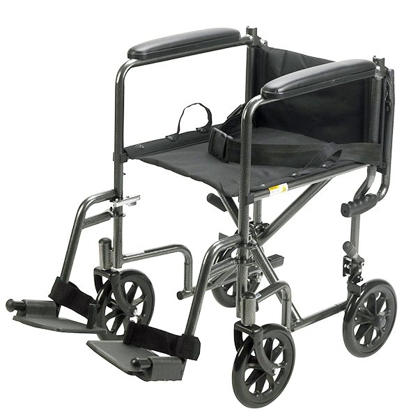 Drive Medical 17 Steel Transport Chair Black Upholstery Silver Vein Finish