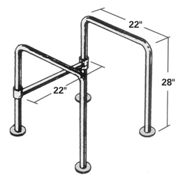 Floor Mounted Straddle Stainless Steel Grab Bar