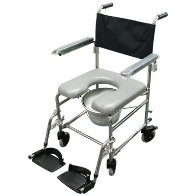 "Shower mode Chair 8"" Wheels Stainless Steel"