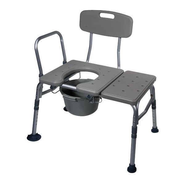 Drive Medical Transfer Bench With Plastic Seat And Commode