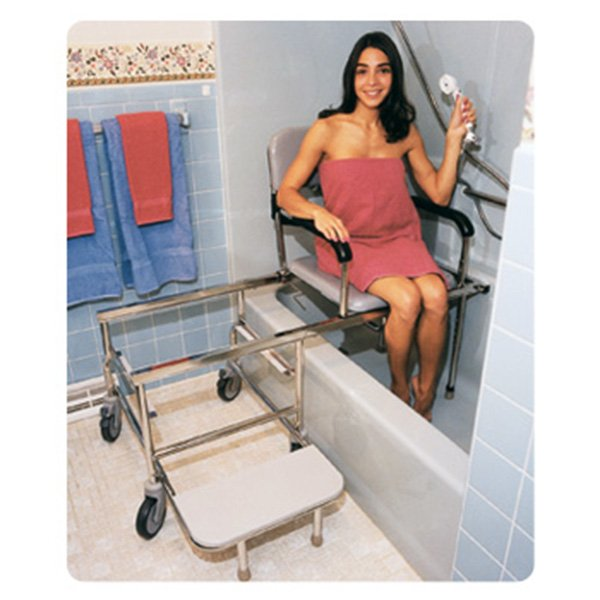 Show product details for Tub Slide Shower Chair. Padded  Commode Opening  Sliding  Swivel Transfer Benches