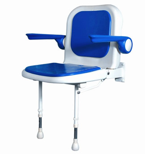 AKW Wall Mounted Fold Up Shower Chair, Padded Seat U0026 Back W/Arms, Color  Choice