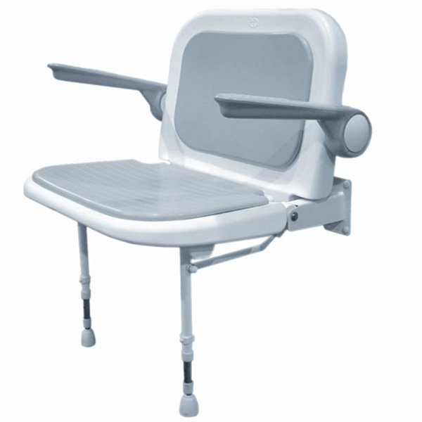 Wall Mounted Fold Up Wide Shower Chair, Padded Seat & Back w/Arms ...