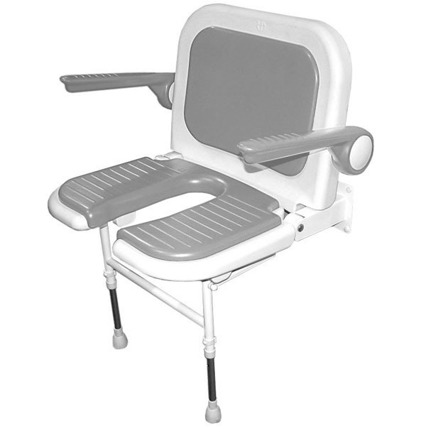 Superbe AKW Wall Mounted Fold Up Wide Shower Chair, Padded U Shaped Seat U0026 Back  W/Arms, ...