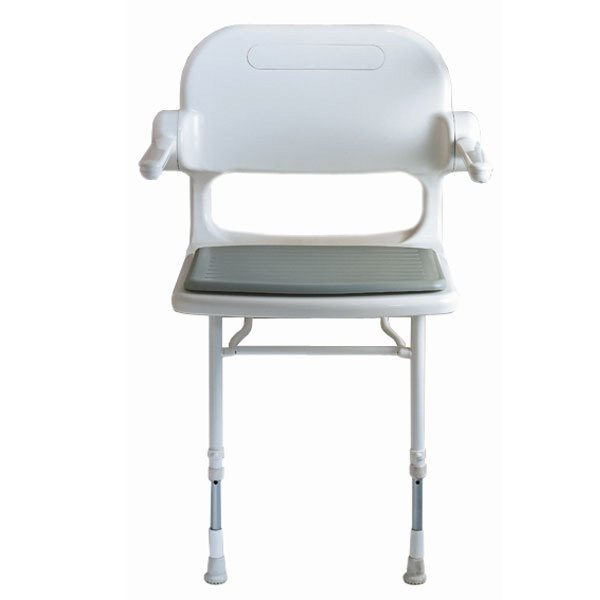 Delicieux AKW Wall Mounted Fold Up Compact Shower Chair, Padded Seat U0026 Back W/Arms,  Color Choice