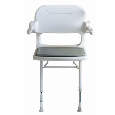 AKW Wall Mounted Fold Up Compact Shower Chair Padded Seat Back W Arms