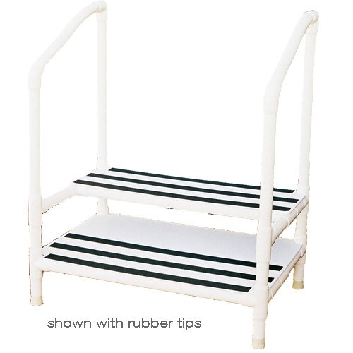 Pvc Heavy Duty Double Step Stool With 3 Locking Casters
