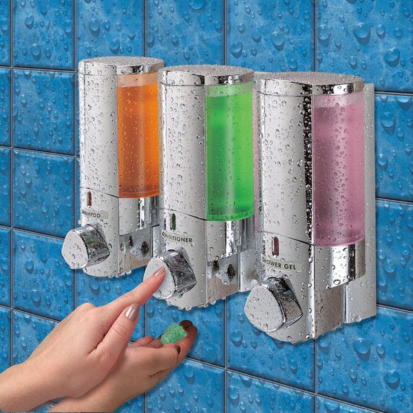 Aviva Triple Chrome Dispenser For Shampoo Conditioner Soap Or Lotion